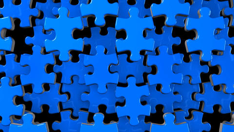 Blue Jigsaw Puzzle On Black Background CG動画