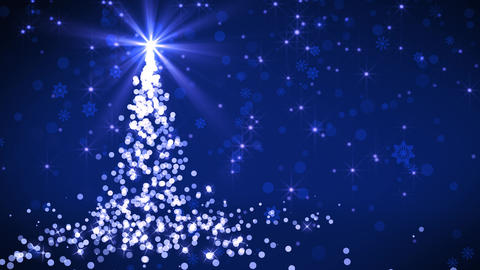Blue Falling Lights Christmas tree Animation