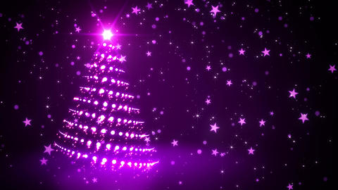 Purple Sparkling Christmas Tree CG動画素材