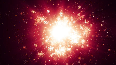 Red Particle Light Snowflakes Animation