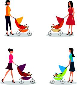 Isolated set of moms with strollers Vector