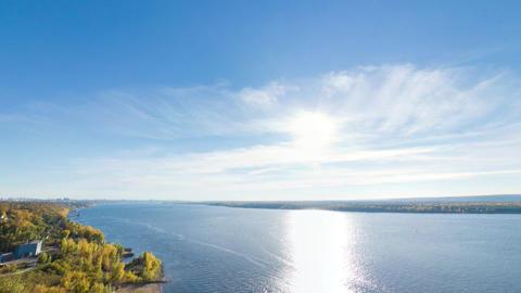 Panoramic Shot Of Volga River From Bald Mountain, Samara, Russia stock footage