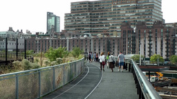 New York City 621 pedestrians on the High Line walkway; Chelsea Footage