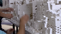 New York City 630 art project with toy bricks at High Line Footage