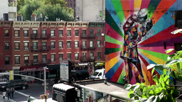 New York City 640 homes and wall paintings along High Line Footage