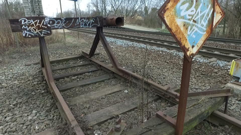 End of the railway track Footage