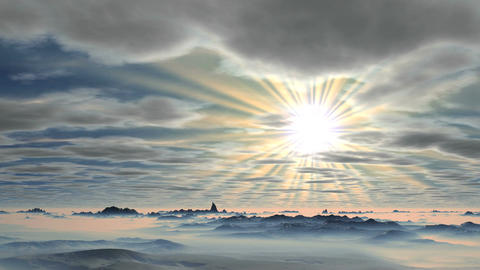 The bright morning sun over the mountains Animation