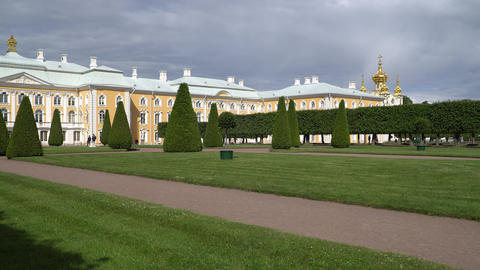St. Petersburg, Peterhof, Russia, June 2018: Famous Petergof fountains and Footage