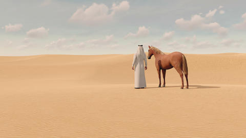 Arabian man and red horse in sandy desert 3D GIF