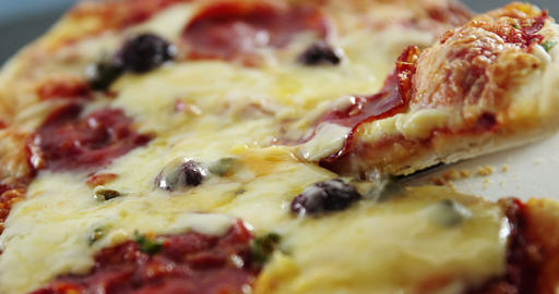 Delicious italian pizza on table Footage