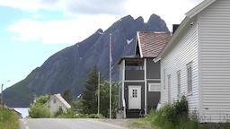 Norway Lofoten Flakstadøya island Sund village private homes at a street Footage
