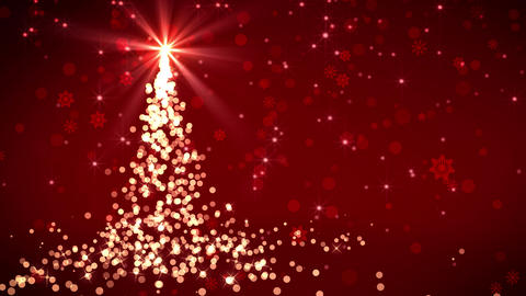 Red Falling Lights Christmas Tree Animation