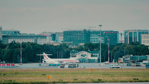 WARSAW, POLAND - JUNE 15, 2018. Polish Government airplane at the Chopin airport Live Action