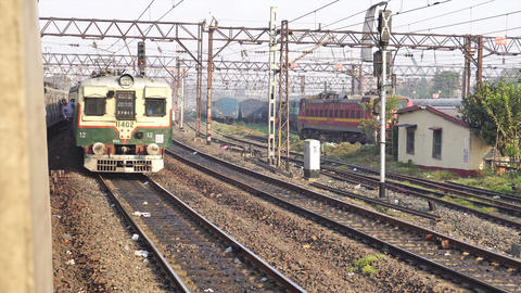 Local train crossing another local train at Howrah station Live Action