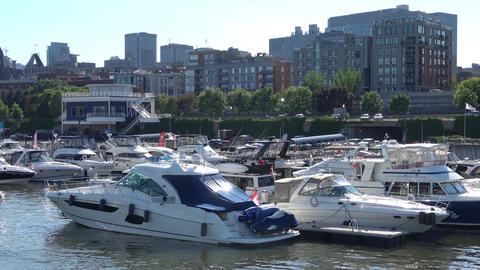 Boats in water , Montreal, Canada ビデオ