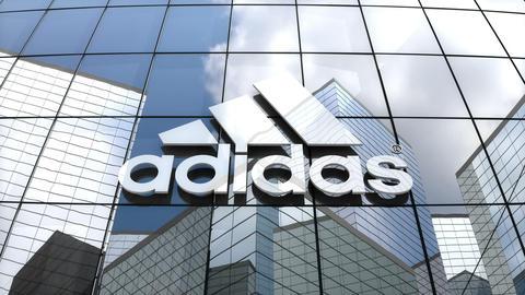 Editorial, Adidas AG logo on glass building Animation