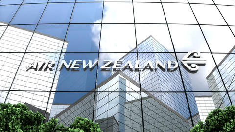 Editorial, Air New Zealand Limited logo on glass building, Stock Animation