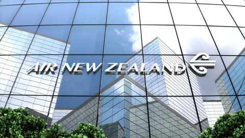 Editorial, Air New Zealand Limited logo on glass building Animation