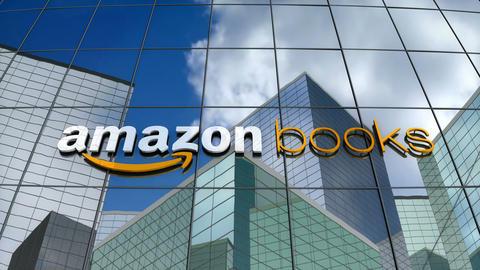 Editorial, Amazon Books logo on glass building Animation