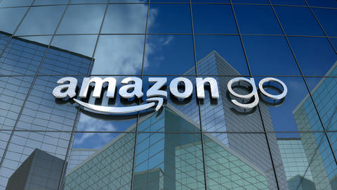 Editorial, Amazon Go logo on glass building Animation