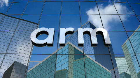Editorial, Arm Holdings logo on glass building Stock Video Footage