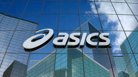 Editorial, ASICS Corporation logo on glass building Animation