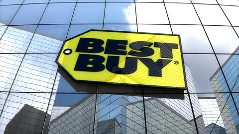 Editorial, Best Buy Co., Inc. logo on glass building Animation