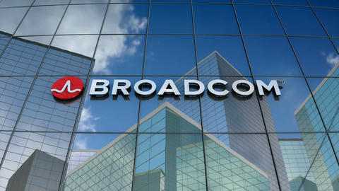 Editorial, Broadcom corporation logo on glass building Animation