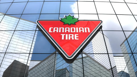 Editorial, Canadian Tire Corporation, Limited logo on glass building Animation