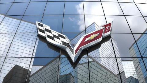 Editorial, Chevrolet Corvette logo on glass building Animation