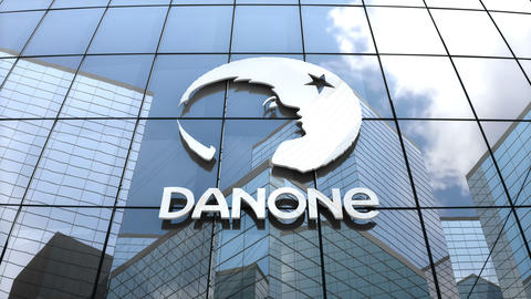 Editorial, Danone S.A. logo on glass building Animation