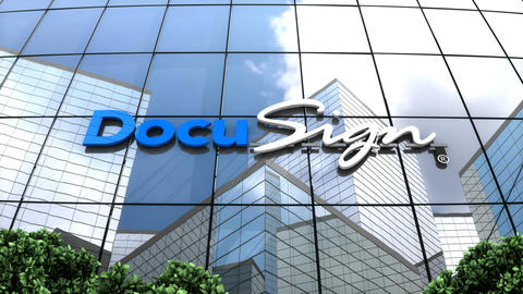 Editorial, DocuSign logo on glass building Animation