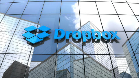 Editorial, Dropbox Inc. logo on glass building Animation