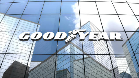 Editorial, The Goodyear Tire & Rubber Company logo on glass building Animation