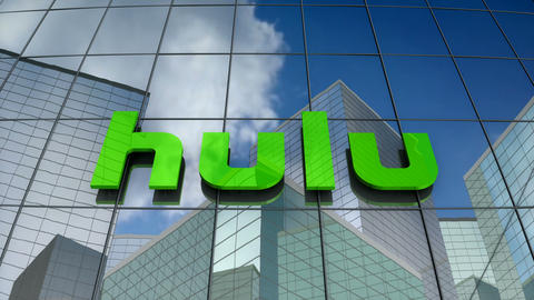Editorial, Hulu LLC logo on glass building Animation