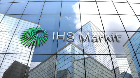 Editorial, IHS Markit Ltd. logo on glass building Animation