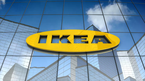 Editorial, IKEA logo on glass building Stock Video Footage