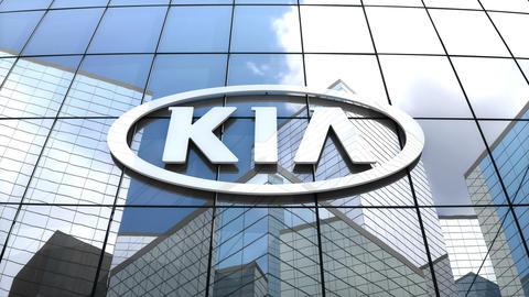 Editorial, Kia Motor Corporation logo on glass building Stock Video Footage
