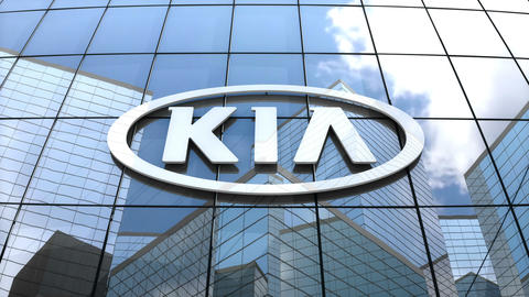 Editorial, Kia Motor Corporation logo on glass building Animation
