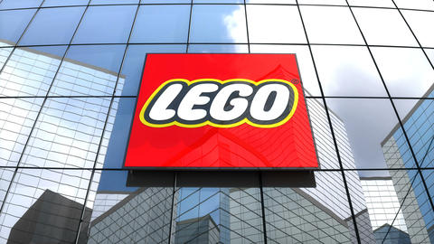 Editorial, The Lego Group logo on glass building Animation