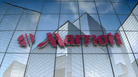 Editorial, Marriott corporation logo on glass building Animation