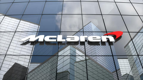 Editorial, McLaren Technology Group logo on glass building Animation