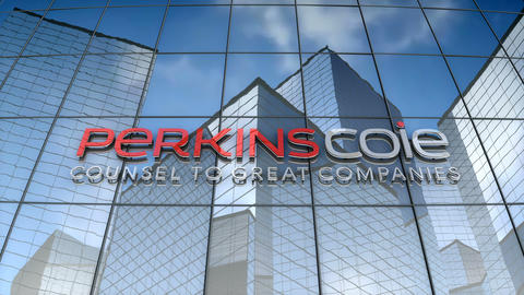 Editorial, Perkins Coie logo on glass building Animation