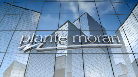 Editorial, Plante Moran logo on glass building Animation