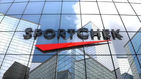 Editorial, Sport Chek logo on glass building Animation