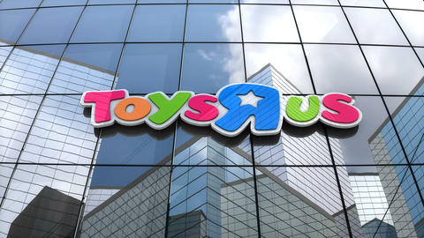 """Editorial, Toys """"R"""" Us logo on glass building Animation"""