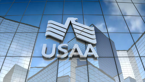 Editorial, USAA logo on glass building Animation