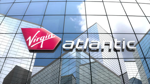 Editorial, Virgin Atlantic Airways Limited logo on glass building Animation