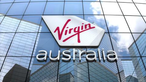 Editorial, Virgin Australia Airlines logo on glass building Animation