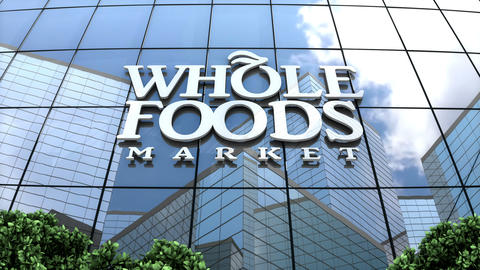 Editorial, Whole Foods Market Inc. logo on glass building Animation